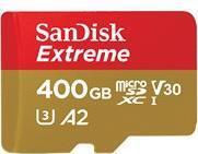Speicherkarten, Speichermedien - SanDisk Extreme Flash Speicherkarte (microSDXC an SD Adapter inbegriffen) 400GB A2 Video Class V30 UHS I U3 microSDXC UHS I (SDSQXA1 400G GN6MA)  - Onlineshop JACOB Elektronik