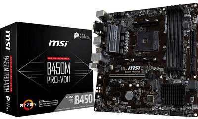 MSI B450M PRO-VDH - Motherboard - micro ATX - Socket AM4 - AMD B450 - USB 3.1 Gen 1 - Gigabit LAN - Onboard-Grafik (CPU erforderlich) - HD Audio (8-Kanal)