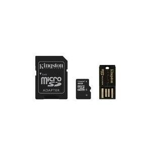 Speicherkarten, Speichermedien - Kingston Multi Kit Mobility Kit Flash Speicherkarte (microSDHC SD Adapter inbegriffen) 8GB Class 4 microSDHC mit USB Reader (MBLY4G2 8GB)  - Onlineshop JACOB Elektronik