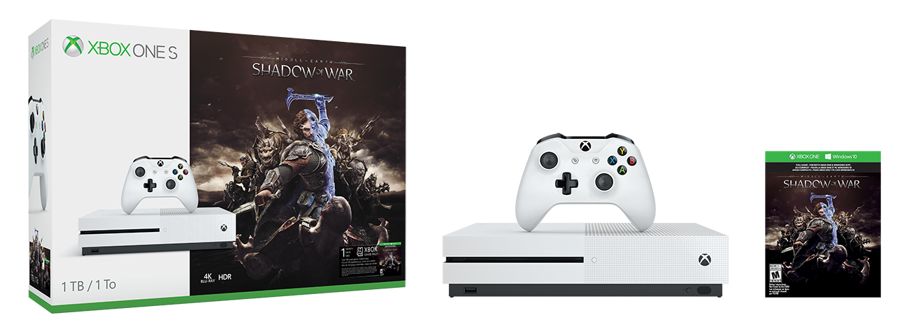 Spielkonsolen - Microsoft Xbox One S Shadow of War Bundle Spielkonsole 4K HDR 1TB HDD Roboter weiß (234 00188)  - Onlineshop JACOB Elektronik