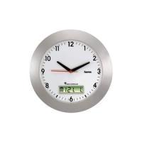 """hama Wand-Funkuhr """"RCW500"""", aus Kunststoff, silber DCF-Funkuhr mit analoger Zeitanzeige und digitaler Kalender- (92636)"""
