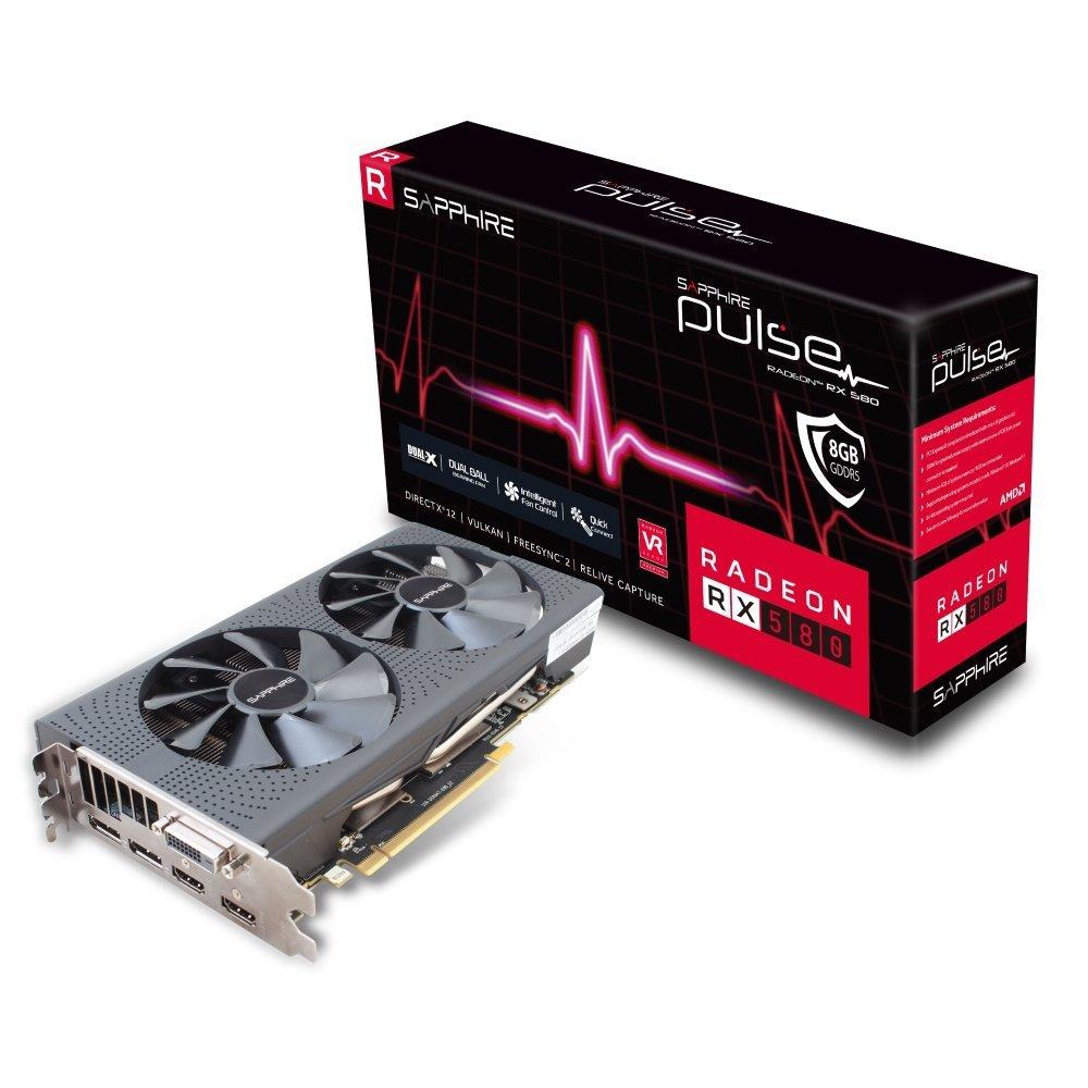 SAPPHIRE Radeon RX 580 PULSE, Grafikkarte - 1366 MHz - 8192 MB - Typ: GDDR5 (11265-05-20G)