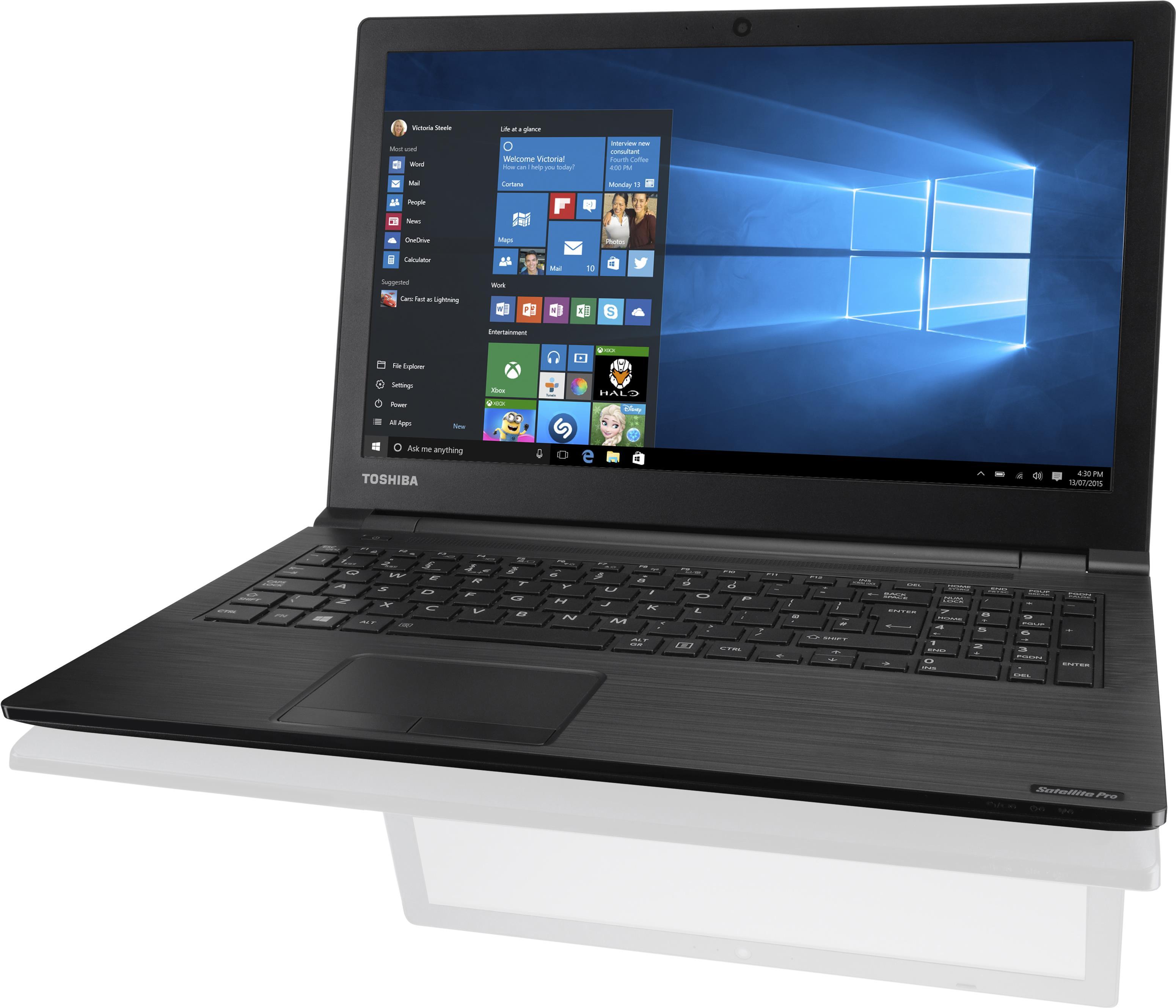 Notebooks, Laptops - Toshiba Satellite Pro R50 C 185 Core i3 6006U 2.2 GHz Win 10 Pro 64 Bit 4 GB RAM 128 GB SSD DVD SuperMulti 39.6 cm (15.6) 1366 x 768 (HD) HD Graphics 520 Wi Fi Schwarz  - Onlineshop JACOB Elektronik