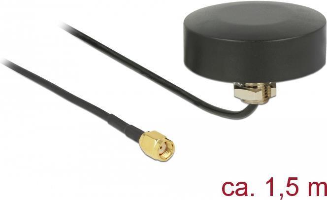 Delock WLAN 802.11 b/g/n Antenne RP-SMA Stecker 3 dBi starr omnidirektional mit Anschlusskabel RG-174 1,5 m outdoor schwarz (65891)