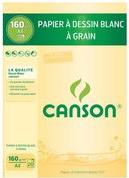 CANSON Malblock, DIN A4, 160 g/qm, 20 Blatt gekörntes Zeichenpapier weiß, Längsseite geleimt (1092)