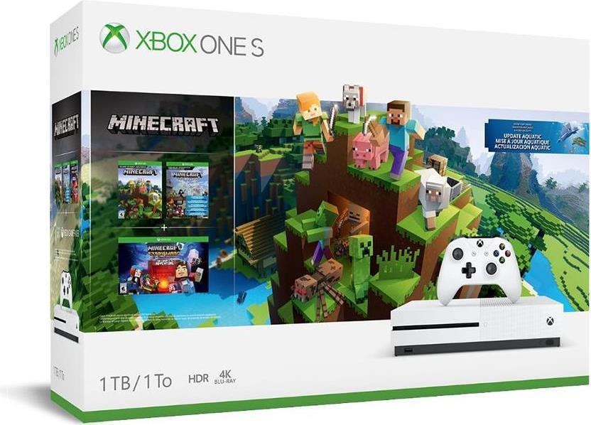 Spielkonsolen - Microsoft Xbox One S Minecraft Bundle Spielkonsole 4K HDR 1TB HDD Roboter weiß (234 00514)  - Onlineshop JACOB Elektronik