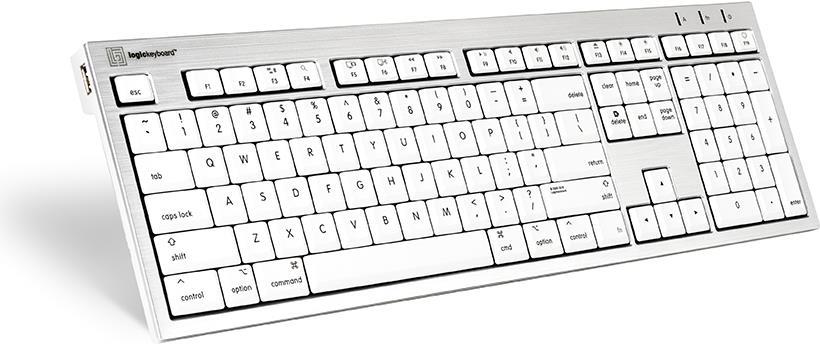 Logickeyboard SKB-CWMU-FR USB AZERTY Französisch Silber - Weiß Tastatur (SKB-CWMU-FR)