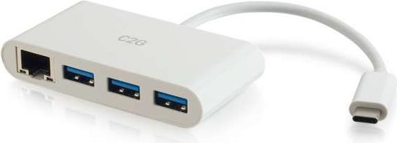 Audiokabel, Videokabel - C2G USB C to Ethernet Adapter with 3 Port USB Hub Netzwerkadapter USB C Gigabit Ethernet x 1 USB 3.0 x 3 weiß  - Onlineshop JACOB Elektronik