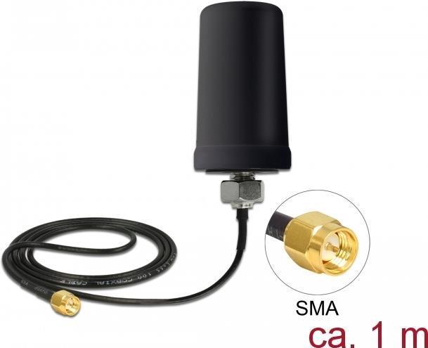 Delock GSM / UMTS Antenne SMA Stecker 0,7 - 1,6 dBi ULA100 1 m omnidirektional starr outdoor schwarz (12544)