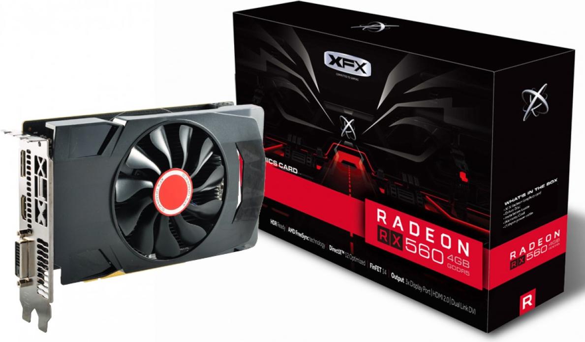 XFX Radeon RX 560D - Grafikkarten - Radeon RX 560 - 4 GB GDDR5 - PCIe 3.0 - DVI, HDMI, DisplayPort