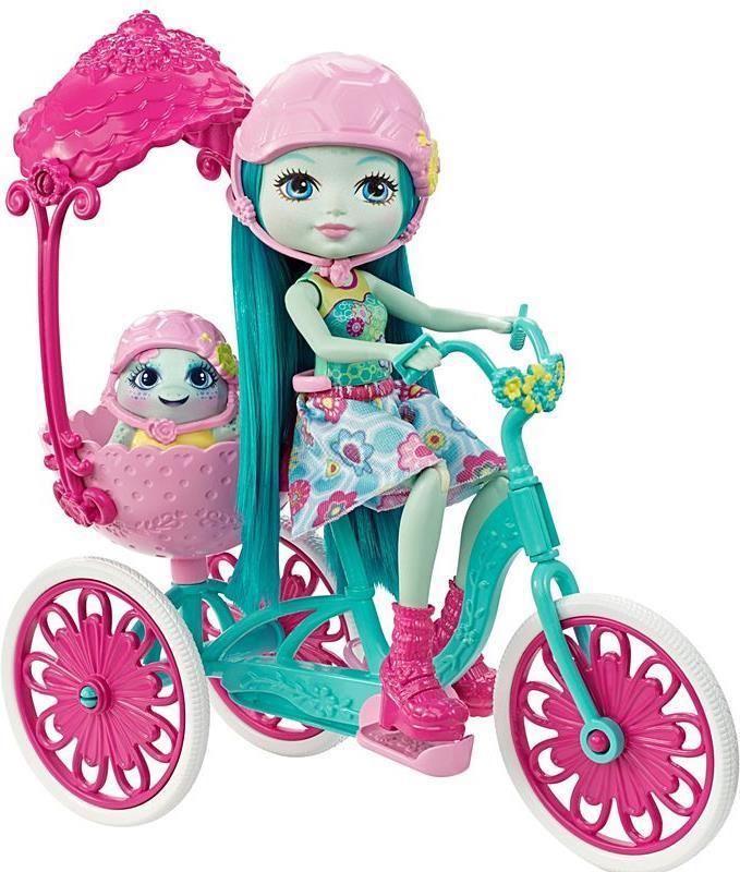 Mattel Enchantimals Built for Two - Mehrfarben - Weiblich - Mädchen - 4 Jahr(e) - Schildkröte - Puppenfahrrad - Puppen-Haustier (FCC65)