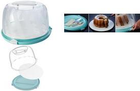"""transparent keeeper Tortenhaube /""""marcello/"""" rund hoch aquamarine"""