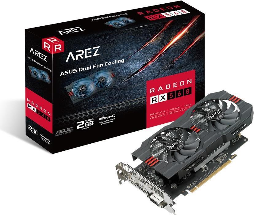 ASUS AREZ-RX560-2G-EVO - Grafikkarten - Radeon RX 560 - 2GB GDDR5 - PCIe 3.0 - DVI, HDMI, DisplayPort (90YV0AHD-M0NA00)