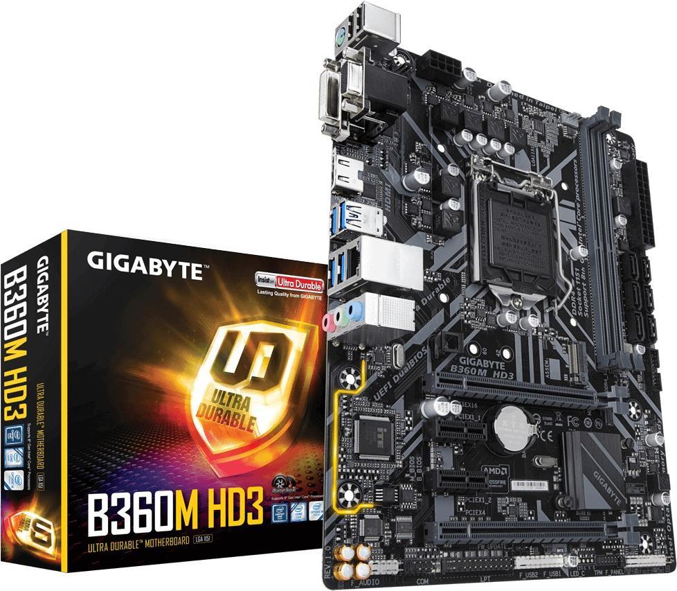 Gigabyte B360M HD3 - 1.0 - Motherboard - micro ATX - LGA1151 Socket - B360 - USB 3.1 Gen 1 - Gigabit LAN - Onboard-Grafik (CPU erforderlich) - HD Audio (8-Kanal) (B-Ware)