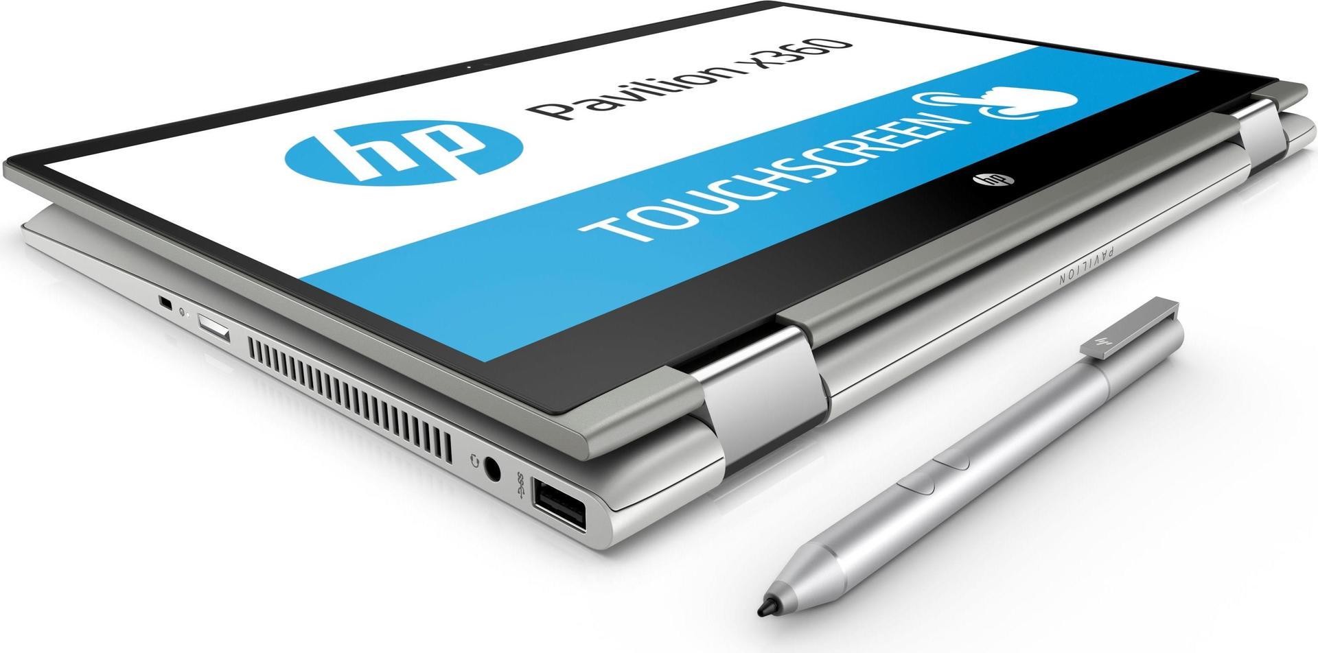 Notebooks, Laptops - HP Inc HP Pavilion x360 14 cd0101ng Flip Design Core i5 8250U 1.6 GHz Win 10 Home 64 Bit 8 GB RAM 256 GB SSD NVMe 35.6 cm (14) IPS Touchscreen 1920 x 1080 (Full HD) UHD Graphics 620 Wi Fi, Bluetooth Mineral Silberfarben  - Onlineshop JACOB Elektronik