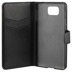 xqisit Slim Wallet Case - Flip-Hülle für Mobiltelefon - Kunstleder, Polycarbonat - Schwarz - für Samsung Galaxy Alpha (18791)