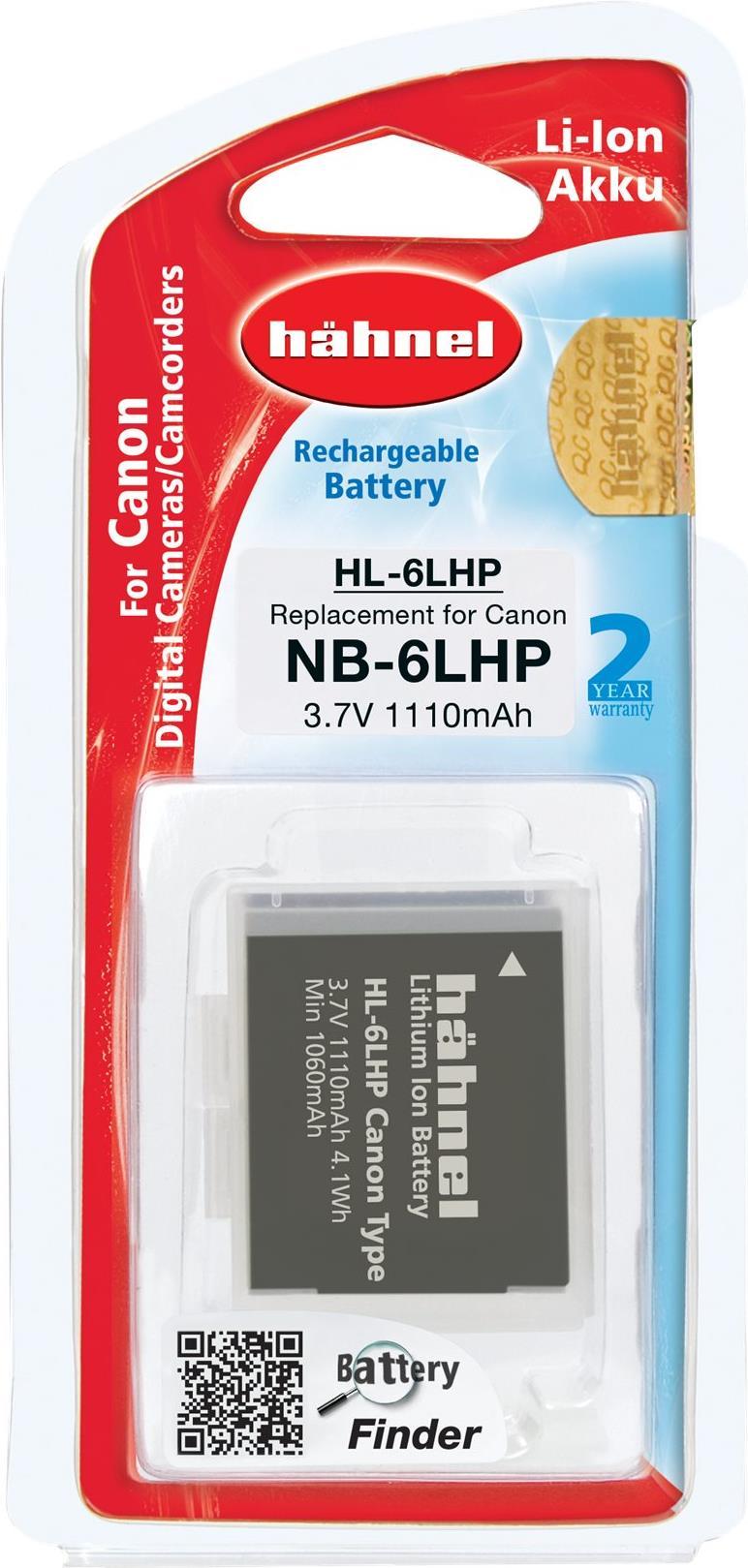 Hähnel HL-6LHP - Batterie - Li-Ion - 1110 mAh - für Canon PowerShot D20, N, SX170, SX260, SX270, SX280, SX500, SX510, SX600, SX700