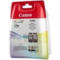 Canon PG-510 / CL-511 Multi pack - 2er-Pack - Schwarz, Farbe (Cyan, Magenta, Gelb) - Original - Tintenpatrone - für PIXMA MP230, MP237, MP252, MP258, MP270, MP280, MP282, MP499, MX350, MX360, MX410, MX420 (2970B011)