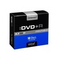 Intenso - 10 x DVD+R - 4,7GB 16x - mit Tintenstrahldrucker bedruckbare Oberfläche - Slim Jewel Case (4811652)