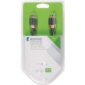 Audiokabel, Videokabel - Nedis König Video Audiokabel Composite Video Audio RCA x 3 (M) bis RCA x 3 (M) 3 m Grau, Anthrazit (KNV24300E30)  - Onlineshop JACOB Elektronik