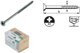 suki. Holzschraube BASIC, Senkkopf, 3x20 mm, PZ1, Edelstahl Holzschraube mit Kreuzschlitz, aus Edelstahl, Vollgewinde, - 1 Stück (6111407)