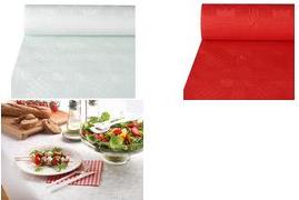 PAPSTAR Damast-Tischtuch (B)0,8 x (L)50 m, weiß Papiertischtuch mit Damastprägung, Stärke: 40 g/qm - 1 Stück (12545)