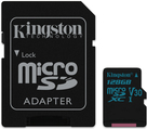 Kingston Canvas Go! - Flash-Speicherkarte (microSDXC-an-SD-Adapter inbegriffen) - 128GB - Video Class V30 / UHS-I U3 / Class10 - microSDXC UHS-I (SDCG2/128GB)