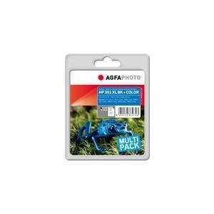 AgfaPhoto Multi pack - 2er-Pack - Schwarz, Farbe (Cyan, Magenta, Gelb) - Tintenpatrone (ersetzt HP 301XL) - für HP Deskjet 10XX, 15XX, 2050 J510, 2050A J510, 2054A J510, 25XX, Envy 4502, Officejet 26XX (HP NO. 301 XL BLACK, CH56)