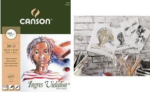 "CANSON Zeichenpapierblock ""Ingres Vidalon"", 320 x 410 mm 100 g/qm, 30 Blatt, Block an der kurzen Seite geleimt, - 1 Stück (C400103030)"