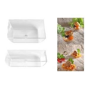 PAPSTAR Fingerfood-Schale eckig, 15 x 58 x 58 mm aus Polystyrol (PS), glasklar, Maße: 15 x 58 x 58 mm - 1 Stück (85115)