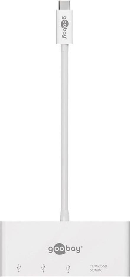 Audiokabel, Videokabel - Goobay USB C Multiport Adapter Card Reader, Weiß, 0.15 m erweitert ein USB C Gerät um drei USB 3.0 Anschlüsse sowie einen Kartenschacht für SD MMC und Micro SD Karten (62097)  - Onlineshop JACOB Elektronik