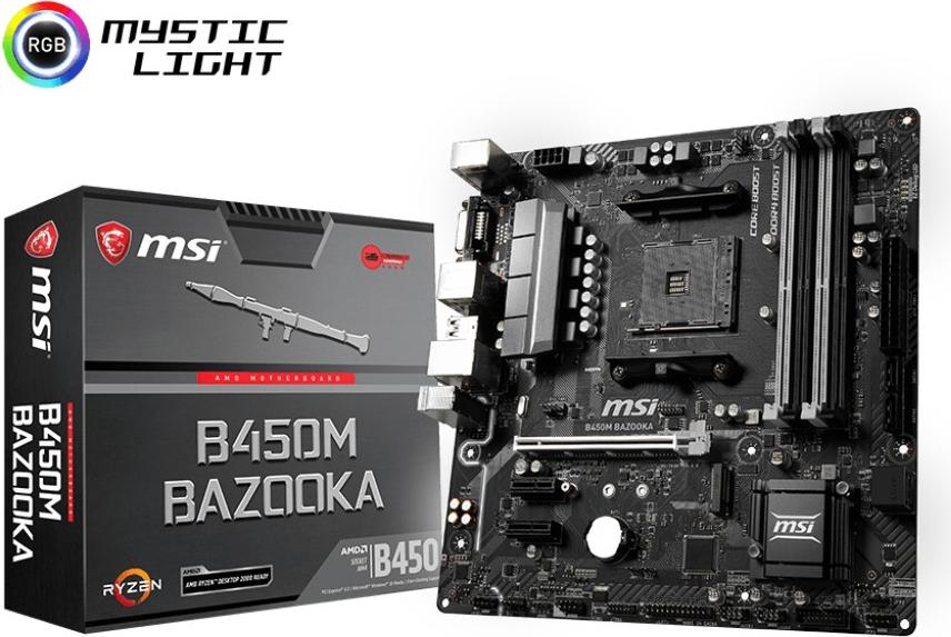 Mainboards - MSI B450M BAZOOKA Motherboard micro ATX Socket AM4 AMD B450 USB 3,1 Gen 1 Gigabit LAN Onboard Grafik (CPU erforderlich) HD Audio (8 Kanal) (7A38 015R)  - Onlineshop JACOB Elektronik