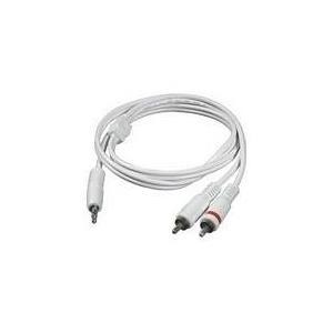 C2G - Audiokabel - 26 AWG - Mini-Phone Stereo 3,5 mm (M) - bis - RCA (M) - 3,0m - abgeschirmt - weiß - für Apple iPod, iPod classic, iPod mini, iPod nano, iPod shuffle, iPod touch (1G, 2G) (80127)