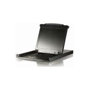 ATEN Arbeitskonsole 43 cm (17) mit integriertem KVM-Switch, PS/2 und USB - zum Einbau im 48,30cm (19) Schrank - GB Tastaturlayout (CL5708M GB)