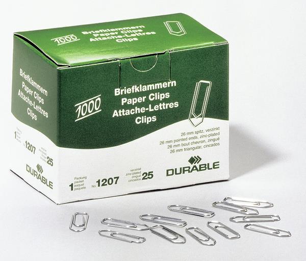 Durable 1207-25 Zink Stahl 1000Stück(e) Papierklammer (1207-25)