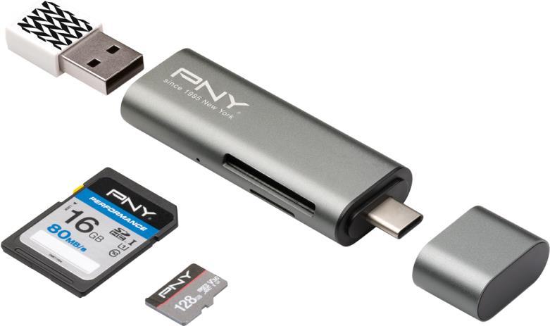 Speicherkarten, Speichermedien - PNY Kartenleser 7,60cm (3) 1 (SD, microSD, SDHC, microSDHC, SDXC, microSDXC) USB C  - Onlineshop JACOB Elektronik