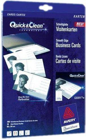 Avery Quick Clean C32011 Visitenkarten Weiß C32011 10