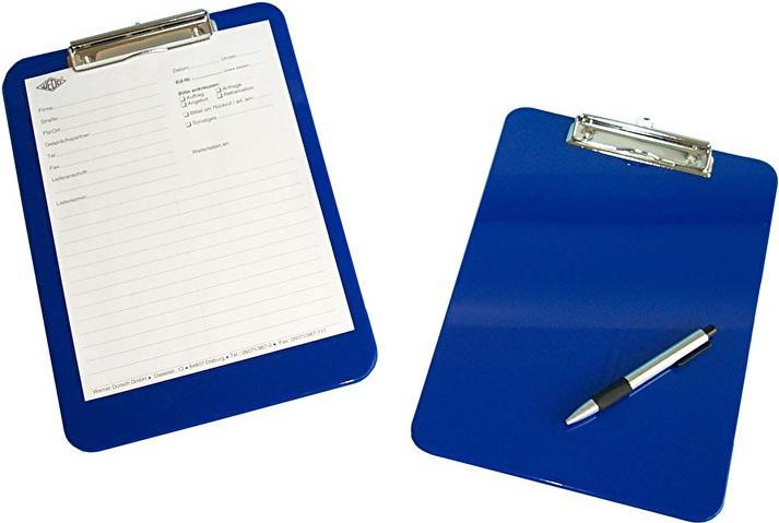Kunststoff mit abgerundeten Ecken vernickelte Metallklemme und Aufh/änge/öse blau Wedo 57603 Klemmbrett A4
