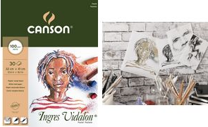 "CANSON Zeichenpapierblock ""Ingres Vidalon"", 240 x 320 mm 100 g/qm, 30 Blatt, Block an der kurzen Seite geleimt, - 1 Stück (C400103005)"