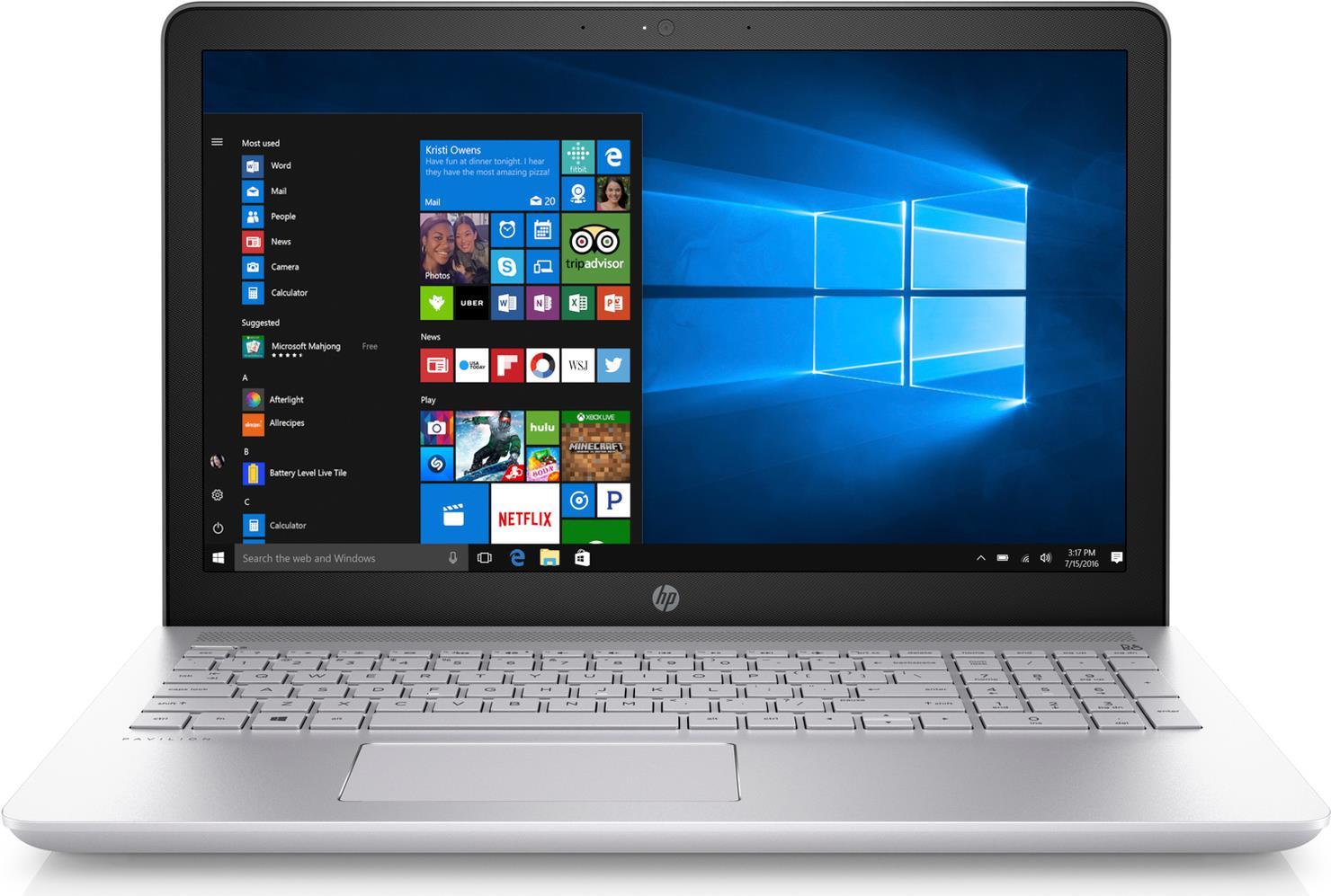 Notebooks, Laptops - HP Pavilion 15 cc009ng Core i3 7100U 2.4 GHz FreeDOS 2.0 8 GB RAM 128 GB SSD 1 TB HDD DVD Writer 39.6 cm (15.6) 1920 x 1080 (Full HD) HD Graphics 620 Wi Fi, Bluetooth Mineral Silberfarben (Oberseite), natürlich silberfarben  - Onlineshop JACOB Elektronik