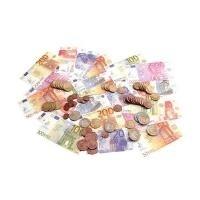 JPC Spielgeld, 65 Geldscheine & 80 Münzen, im P...