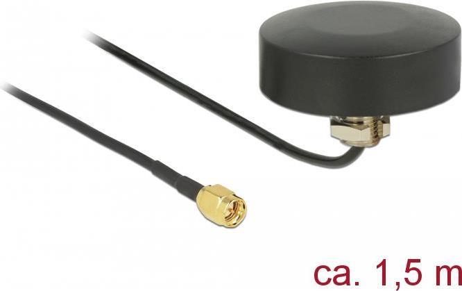 Delock WLAN 802.11 b/g/n Antenne SMA Stecker 3 dBi starr omnidirektional mit Anschlusskabel RG-174 1,5 m outdoor schwarz (65890)