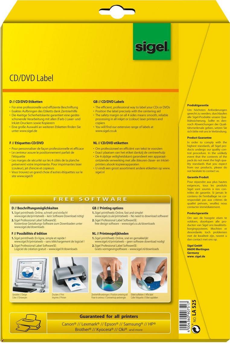 Sigel LA525 50Stück(e) CD/DVD Etikett für Speichermedien (LA525)