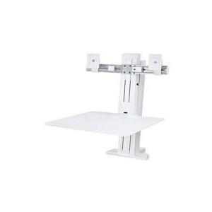 Ergotron WorkFit-SR Dual Sit-Stand Workstation - Aufstellung (Spannbefestigung für Tisch, Arbeitsoberfläche, Spalte, 2 Drehgelenke, Querstange, cord wraps) LCD-Displays/Tastatur/Maus Aluminium weiß Bildschirmgröße: bis zu 61cm (bis jetztbilligerkaufen