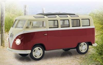 Jamara VW T1 Bus 1:24 Diecast rot LED Sound Rüc...