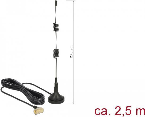 Delock LTE Antenne SMA Stecker 90° 2,5 dBi starr omnidirektional mit magnetischem Standfuß und Anschlusskabel RG-174 2,5 m outdoor schwarz (89614)