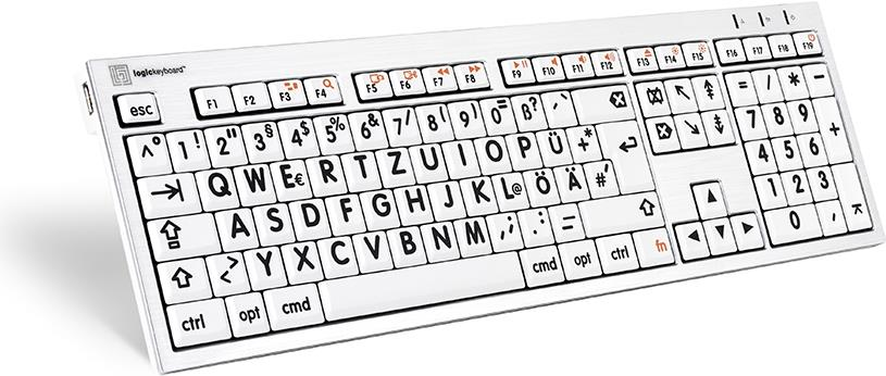 Logickeyboard LKB-LPRNTBW-CWMU-DE USB QWERTZ Deutsch Schwarz - Silber - Weiß Tastatur (LKB-LPRNTBW-CWMU-DE)
