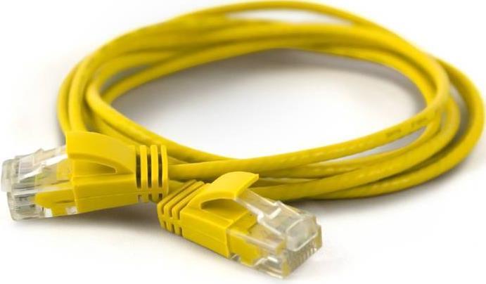 Wantec wW Patchkabel CAT6A rund 2.8mm UTP gelb 0.10m - Netzwerk - Patchkabel - 0,1 m - Cat6a - U/UTP (UTP) - RJ-45 - RJ-45 - Gelb (7281)