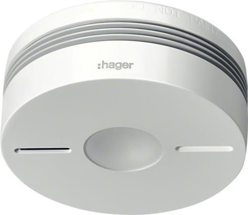 Sicherheit - Hager TG550A 10 Jahres Funk Rauchwarnmelder weiß Rauchwarnmelder mit kleiner Baugröße nach DIN EN 14604 mit zusätzlicher Zertifizierung nach den erhöhten Prüfanforderungen der Q Zertifizierung auf Basis der vfdb Richtlinien 14 01 (TG550A)  - Onlineshop JACOB Elektronik