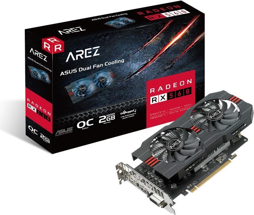 ASUS AREZ-RX560-O2G-EVO - Grafikkarten - Radeon RX 560 - 2 GB GDDR5 - PCIe 3.0 - DVI, HDMI, DisplayPort